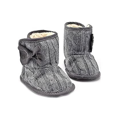 CoKate Baby Girl Knit Cotton Boots Infant Soft Snow Boots Socks Crib Shoes (4.3 inch/0-6 Months, Grey)