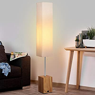 Hompen Modern Floor Lamp, Beige Shade and Natural Wood Color Base, LED Floor Lamp with Outlet, Warm Light for Living Room, Bedroom, Guestroom, Office-Included 6W LED Bulb