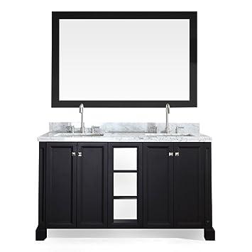 Ariel C061D BLK Westwood 61 Solid Wood Double Sink Bathroom