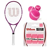 Wilson Triumph Pre-Strung Tennis Racquet (4 1/4' Grip) Starter Kit or Set for Beginner Girls or Women Bundled with 3 Pink Tennis Balls and (1) 3-Pack of Pink Overgrips