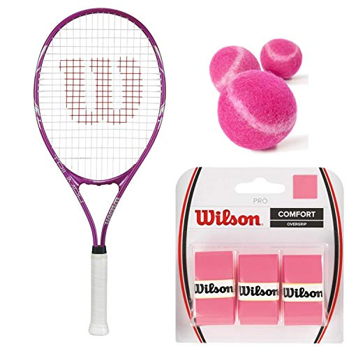 Wilson Triumph Pre-Strung Tennis Racquet (4 1/4″ Grip) Starter Kit or Set for Beginner Girls or Women Bundled with 3 Pink Tennis Balls and (1) 3-Pack of Pink Overgrips