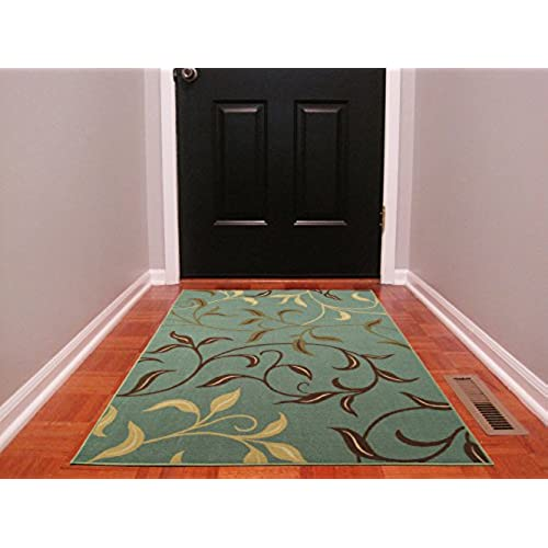 vibrant ideas royal blue area rug. Ottomanson Ottohome Contemporary Leaves Design Modern Area Rug with  Non SkidRubber Backing Seafoam 3 L x 5 0 W Blue Green Rugs Amazon com