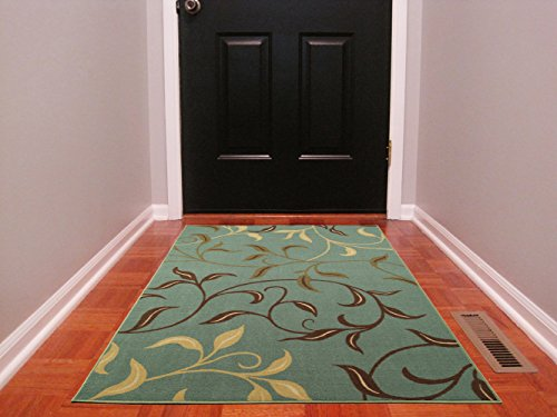 Ottomanson Ottohome Contemporary Leaves Design Modern Area Rug with Non-SkidRubber Backing, Sage Green/Aqua Blue, 3'3