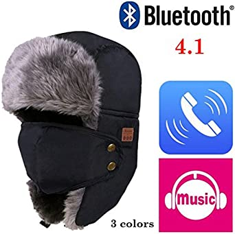 Bluetooth Trapper Hat, Wireless 4.1 Headphone Winter Hunting Hat, Removable Earphones Built-in Mic for Men Women Outdoor Sports Fitness (Black)