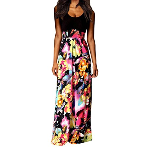 iTLOTL Women Boho Maxi Summer Beach Long Cocktail Party Floral Dress(XL, Black )