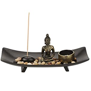 Tabletop Buddha Statue Home Zen Garden Buddhism Candlestick Incense Holder Set for Decor Relaxation