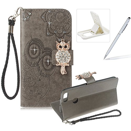 Price comparison product image Herzzer Strap Leather Case Huawei P Smart, Diamond Gray Wallet Flip Case Huawei P Smart,  Stylish 3D Owl Magnetic Closure Cute Owl Printed Stand Shockproof PU Leather Case Soft Silicone