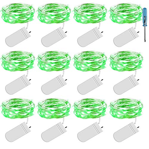 Christmas Green Centerpiece Mini (LRCXL 10Ft 30 Micro Led String Lights Battery Operated Fairy.Silver Wire Mini Starry Lights for DIY Décor Wedding Party Table Centerpiece Christmas Decoration,12 Pack(Green))