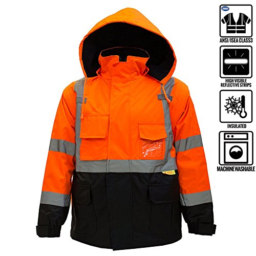 (New York Hi-Viz Workwear J8511 Men's Ansi Class 3 High Visibility Safety Bomber Jacket With Zipper, PVC Pocket, Black Bottom and Detachable sleeve (5XL, Orange))