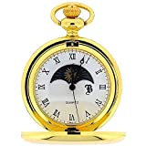 Boxx Gold Tone Sun and Moon Phase Dial Pocket Watch 12 Inch Chain BOXX192