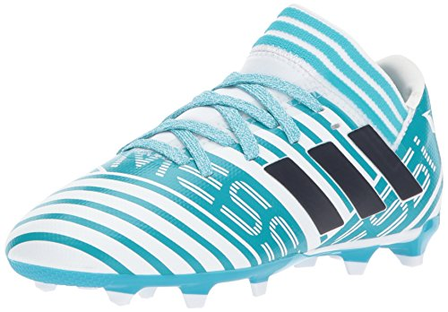 adidas Kids Nemeziz Messi 17.3 Fg J Soccer-Shoes, WHITE/LEGEND INK/ENERGY BLUE, 1 Big Kid