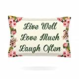 KESS InHouse NL Designs ''Live, Love, Laugh'' Floral Typography Pillow Sham, 30'' x 20''