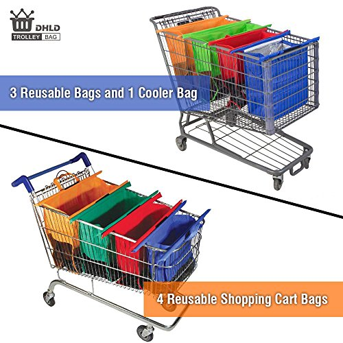 DHLD Trolley Bags with 4in1 Reusable Grocery Bags - Eco Friendly Reusable Grocery Bags Perfect For Shopping Carts - Optimal US Size Heavy Duty with Strong Handles - 100% Qlty GUARANTEE