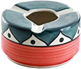 SouvNear Ashtray with 3 Cigarette Holder Slots Colorful Ceramic Ash Tray Office Bar Indoor Outdoor - Deals of the Day