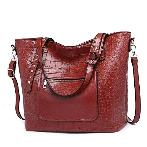 - Mn&Sue Crocodile Purses and Handbags Work Bags for Women Large Tote Leather Shoulder Satchel Studded Crossbody Bag (Style 2- Wine Red)