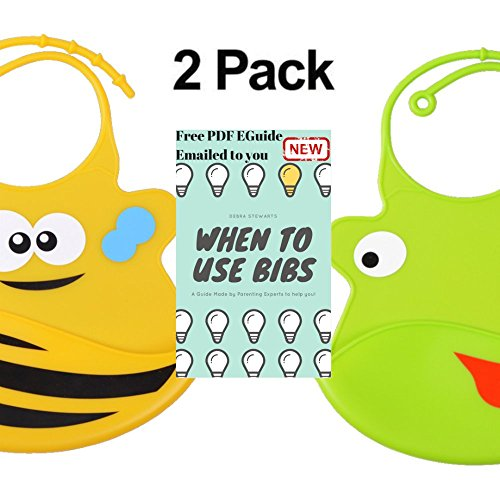 Waterproof Easily Wipes Clean! Cozy and Soft Bibs Keep Stains Off! Spend Less Time Cleaning after Meals with Toddlers or Babies! Set of 2 Colors (Light Green / Yellow) (Baby Meal Time Set)