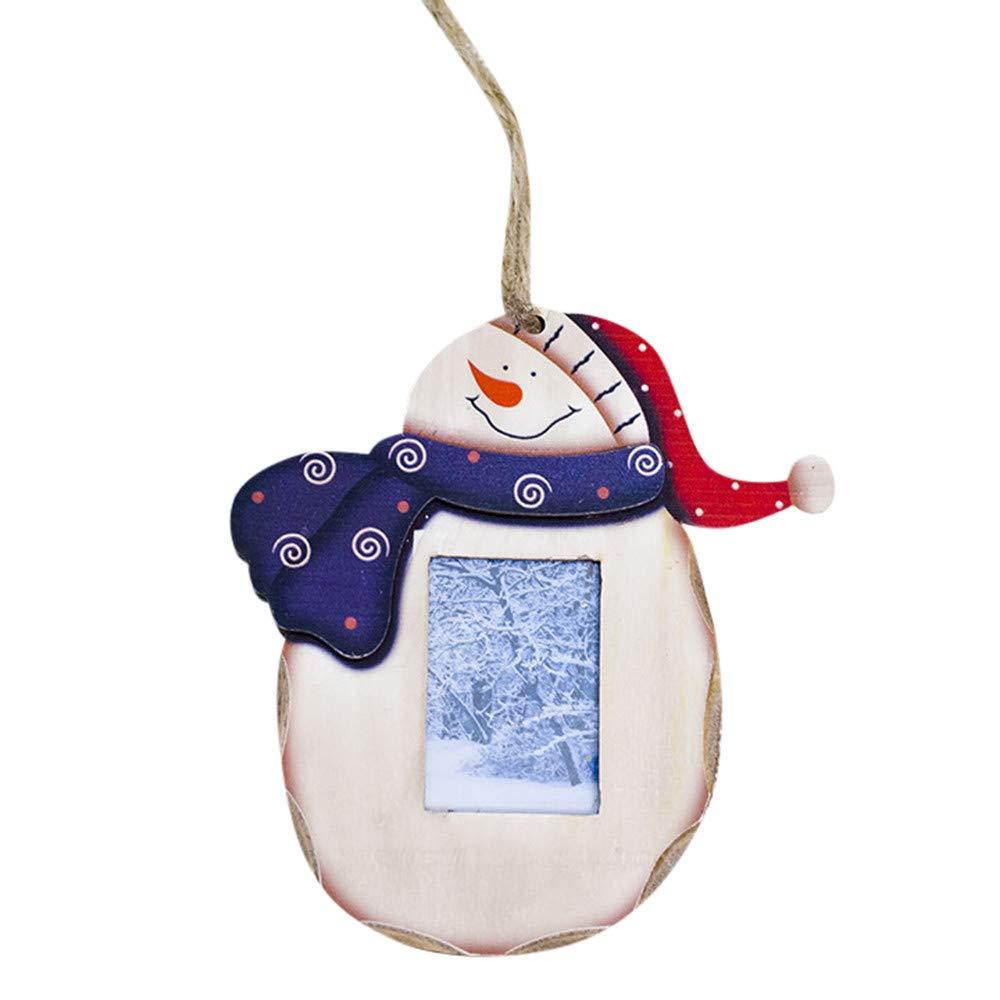 BHYDRY Muñeco de Nieve Adornos de Madera Marco de Fotos de Navidad rústico Decoración Colgante(1PC,A): Amazon.es: Hogar