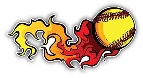 novland Flaming Softball Baseball Sport Car Bumper Sticker Decal 6 x 3
