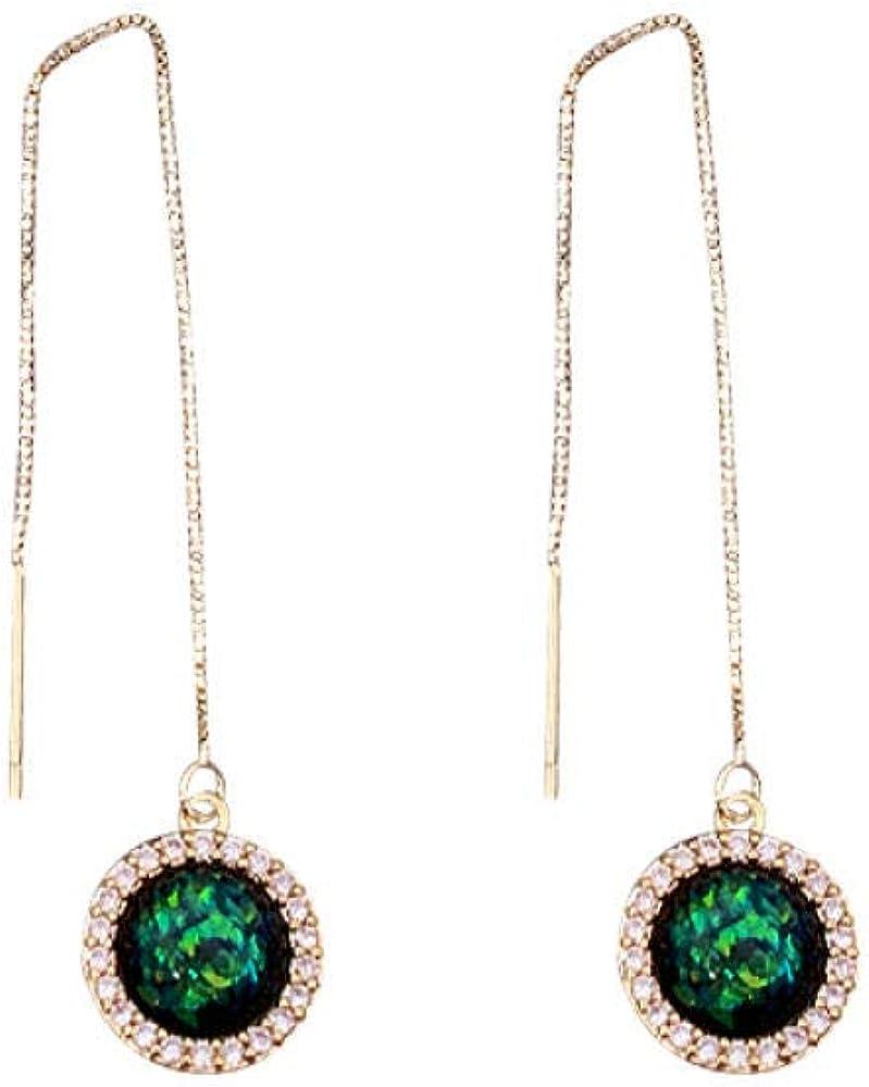 Aretes colgantes para mujer en plata de ley larga Pendientes de borla de temperamento esmeralda sinfonía de corte vintage Regalo elegante y especial SDHJMT