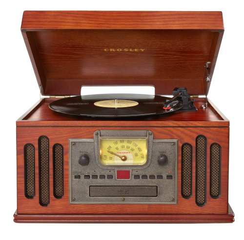 Crosley CR704C-PA Musician Turntable with Radio, CD Player, Cassette and Aux-In, Paprika (Record Cd Cassette Radio Player)