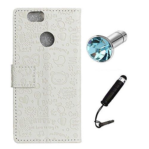 Lusee PU Caso de cuero sintético Funda para Huawei Honor 7c / Enjoy 8 / Y7 Prime 2018 / Y7 Pro 2018 5.99 Pulgada Cubierta con funda de silicona botón pequeña bruja lilac pequeña bruja blanco