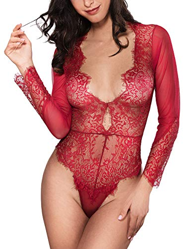 Women Sexy Lingerie Long Sleeve Bodysuit Lace Deep V Bodysuit Lingerie Sheer Teddy Lingerie Barbados Cherry -