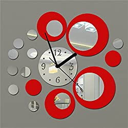 Fymural DIY Wall Clock Wall Stickers-Round Modern Acrylic Mirror Surface 3D Simple Big Size Wall Decor Clocks Numbers Stickers for Living Room Bedroom TV Wall Decoration Removable (Red)