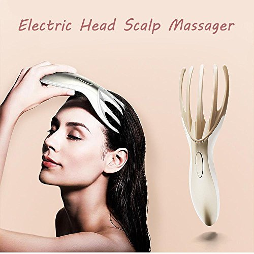 SMYTShop Head Scalp Self Massager Electric Cordless Handheld,Human Fingers Percussion Simulation,Hair Growth Migraine Headache Pain Stress Relief Circulation Insomnia Accupressure