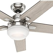 """Hunter 54"""" Contemporary Indoor Ceiling Fan with Light Kit and Remote Control (Renewed), Brushed Nickel Finish"""