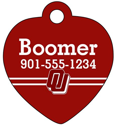 Oklahoma Sooners Dog Tag Cat Tag Pet Id Tag Personalized w  Name & Number