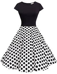 Women's Vintage 1950s Cap Sleeve Patchwork Cocktail Swing Party Dress