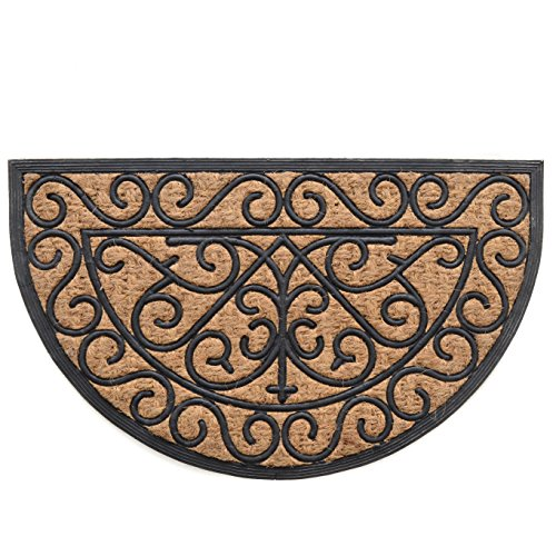 - Milliard Half-Round Iron Grate Style Coco Fiber Outdoor Entrance Doormat - 18in.x30in.