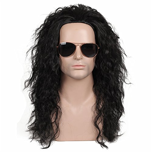 ColorGround Long Curly 80s Fashion Smart Heavy Metal Rocker Style Wig -