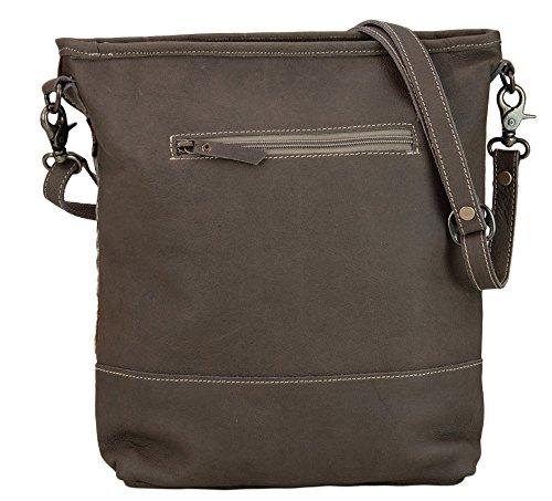 Sunsa Damen Tasche Ledertasche Schultertasche Umhängetasche Handtasche mit Fell