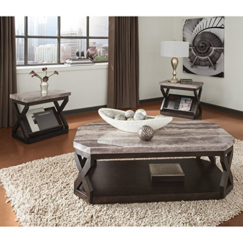 3 Piece Coffee Table Set, X-Shaped Frames, Bold, Contemporary Style, Gray Travertine Patterned Top, Glossy Polyurethane Finish, Hardwood Frames, Canted Corners, Generous Base Shelf + Expert (Travertine Top Coffee Table)