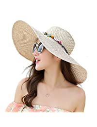 Adrinfly Women Floppy Sun Hat Foldable Big Brim Straw Hat Roll Up Cap Beachwear