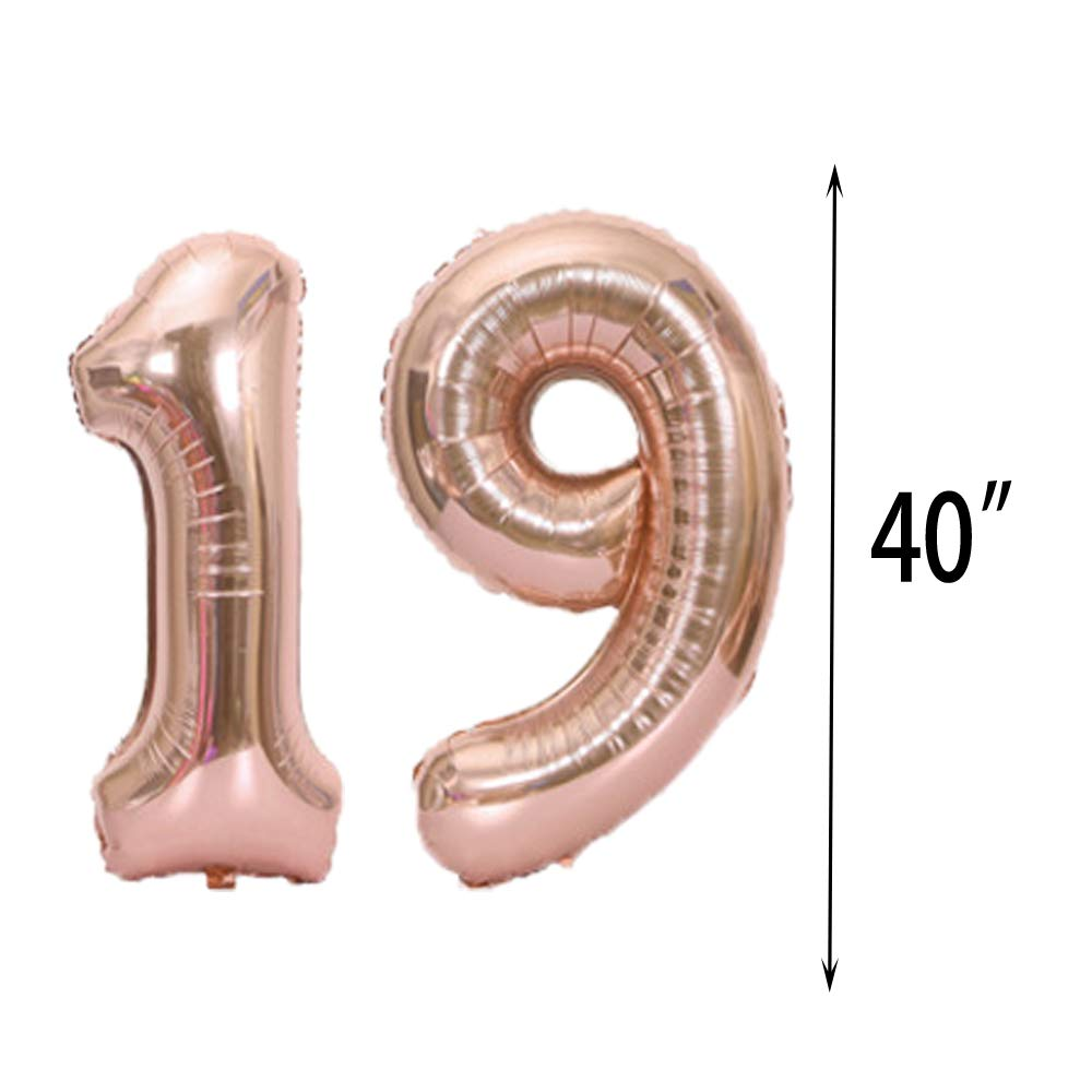 Sweet 19th Birthday Decorations Party Supplies,Rose Gold Number 19 Balloons,19th Foil Mylar Balloons Latex Balloon Decoration,Great 19th Birthday Gifts for Girls,Women,Men,Photo Props SFSL