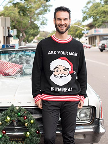 Tipsy Elves Mens Ask Your Mom If Im Real Ugly Christmas Sweater