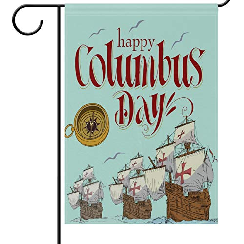 Wamika Columbus Day Celebrate House Flags 28 x 40 Double Sided, Sailing Boat Ship Compass Seagull Nautical Sea Ocean Marine Polyester Garden Yard Outdoor House Flag Banner for Party Home Decorations