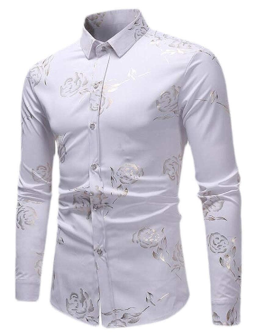 ZXFHZS Mens Fashion Slim Rose Floral Print Casual Long Sleeve Button Down Shirt