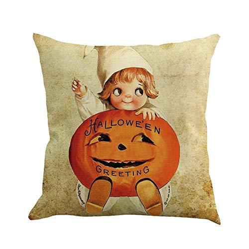 HGWXX7 Happy Halloween 45cmX45cm Pumpkin Print Pillow Cases Linen Cushion Cover for Sofa Car Bed Home Decor Throw Pillow Covers(A)