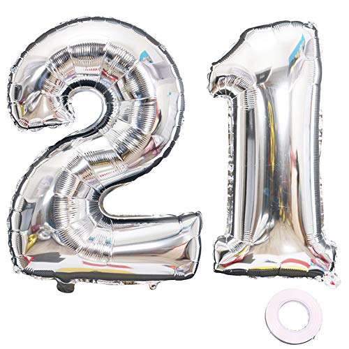 Juland Silver Number 21 Balloons Large Foil Mylar Balloons 40 Inch Giant Jumbo Number Balloons for Birthday Party Decorations]()