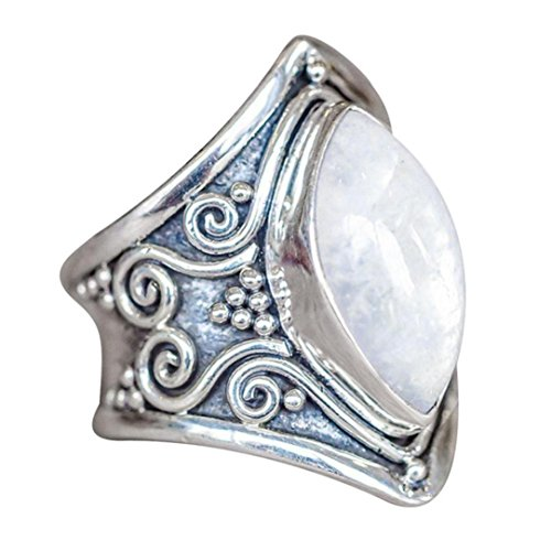 Muranba Boho Jewelry Silver Natural Gemstone Marquise Moonstone Personalized Ring (White, 9) ()