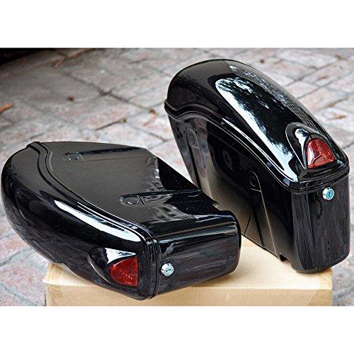 EGO BIKE Black Hard Saddle Bags Trunk Luggage w//Lights Mount Bracket Motorcycle for Yamaha Cruiser