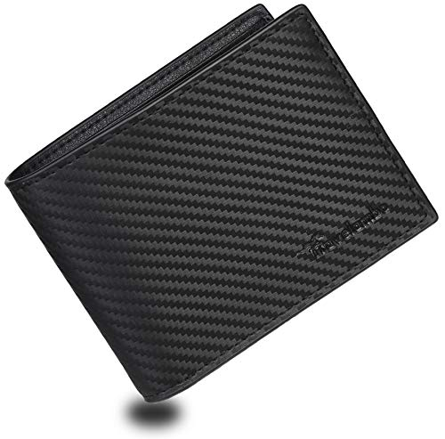 Travelambo Genuine Leather RFID Blocking Wallets Mens Wallet Bifold Classic (carbon fiber black)