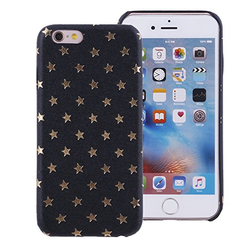 - iProtect Limited Edition Star Case for Apple iPhone 6 and 6s TPU Hardcase - Unique Design - Smooth Touch Protective Sleeve with Gold Stars in Black