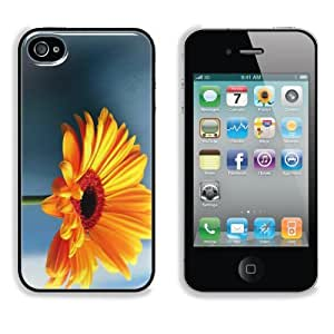 Single Orange Gerbera Daisy Apple iPhone 4 / 4S Snap Cover Case Premium Aluminium Customized Made to Order Support Ready 4 7/16 inch (112mm) x 2 3/8 inch (60mm) x 7/16 inch (11mm) Liil iPhone_4 4S Professional Cases Touch Accessories Graphic Covers Designed Model Folio Sleeve HD Template Wallpaper Photo Jacket Wifi 16gb 32gb 64gb Luxury Protector Wireless Cellphone Cell Phone