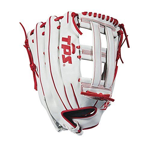 Louisville Slugger 2018 TPS Slowpitch Softball Glove - Right Hand Throw White/Red, 14