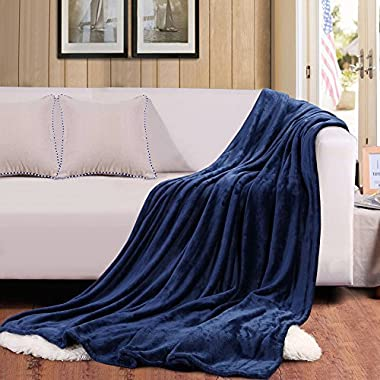 Flannel Throw Blankets, Bed Blanket by Bedsure-100% Plush Microfiber(Warm/Cozy/Fluffy), Lightweight and Easy Care, Couch Blanket, Twin Full/Queen King(60 x80  Blue Navy)