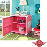 Kids Night Stand-Storage Bed Side Box, 2-Shelf Night Stand-Storage Box, Race Car Design, Metal ,Pink & ebook Home Decor